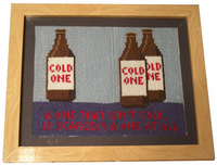 A Cold One cross-stitch.
