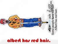 albert has red hair.